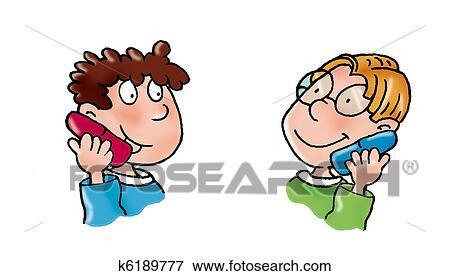 Stock Illustration of children on the phone, k6189777 ...