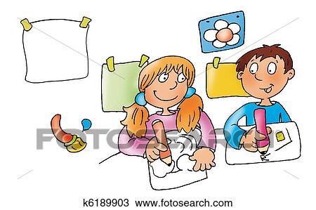 手绘图 - 孩子, drawing