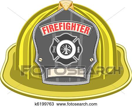 firefighter helmet or fireman hat from the front with firefighter ...