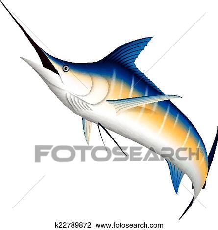 clipart of realistic marlin fish jumping k22789872 search clip art rh fotosearch com Fish Silhouette Clip Art Cartoon Fish Graphics