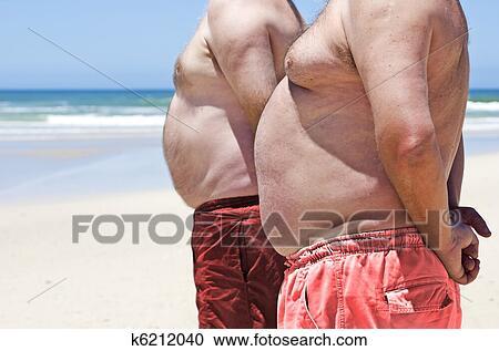 RF 类图片 关闭, 在中, 二, 肥胖, 脂肪, 人, 在中, the, 海滩