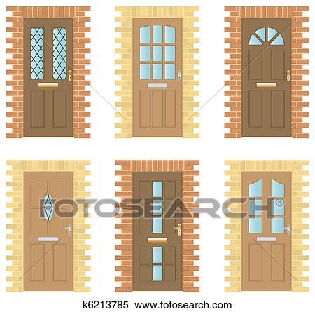 Clipart legno porte set k6213785 cerca clipart illustrazioni murali disegni e immagini - Cornici finestre in mattoni ...