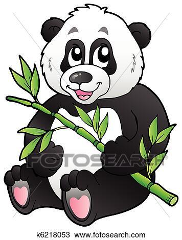 Clipart dessin anim panda manger bambou k6218053 - Dessins de panda ...