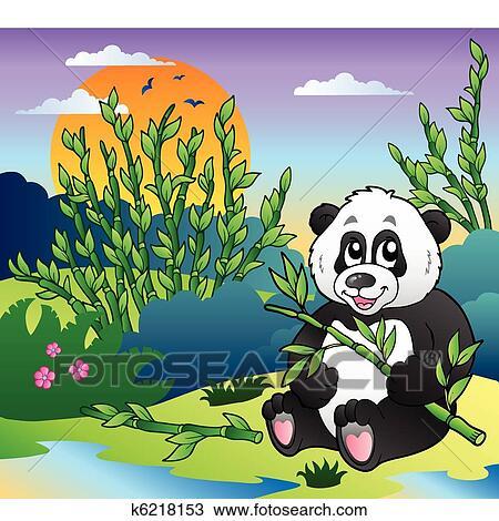 Clipart spotprent panda in bamboebos fotosearch zoek clip art