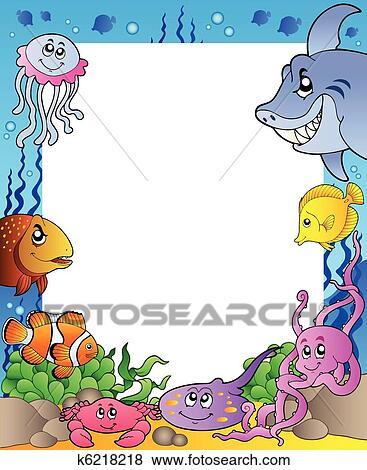 Clip art cornice con mare pesci 1 k6218218 cerca for Mare clipart