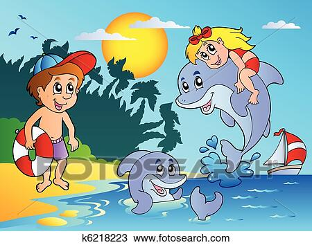 Clipart of Summer beach with kids and dolphins k6218223 ...