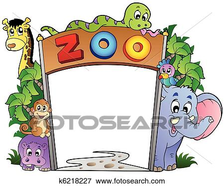 clip art of zoo entrance with various animals k6218227 search rh fotosearch com zoo animals clipart border zoo animals clipart free