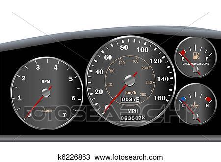 clipart voiture tableau bord compteur vitesse pour moteur ou sportscar k6226863. Black Bedroom Furniture Sets. Home Design Ideas