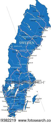 Clip Art Of Sweden Map K Search Clipart Illustration - Sweden map search
