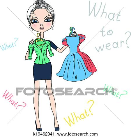 Top Model Clipart Girl Top Model Trying on