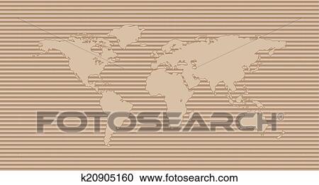 剪贴画 - 世界地图, 在上