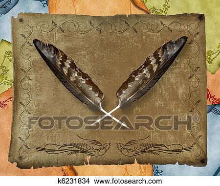 手绘图 - 金色的鹰, 羽毛