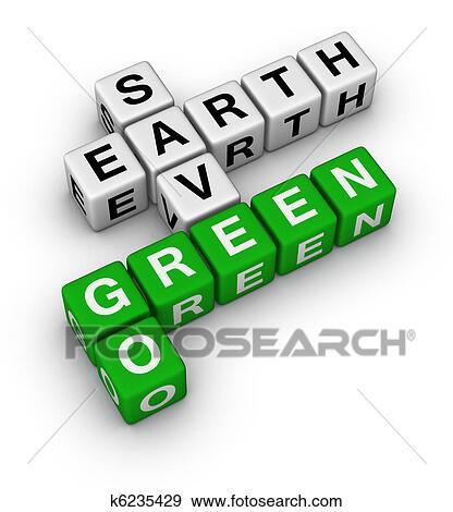 Stock illustration of go green save earth k6235429 for Mural go green