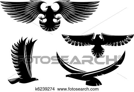 Clipart of Heraldry eagle symbols and tattoo k6239274 ...