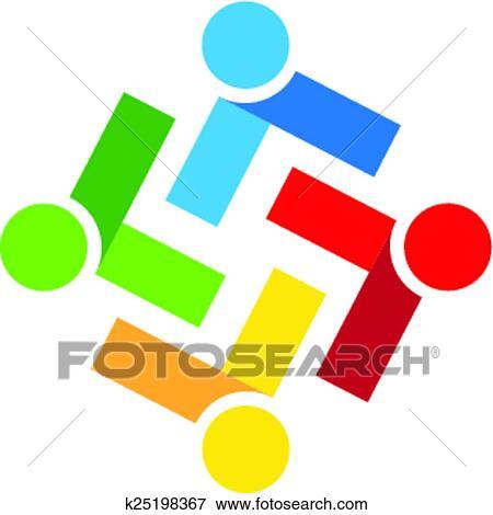 clip art of logo teamwork people k25198367 search clipart rh fotosearch com teamwork clip art pictures free teamwork clip art black and white