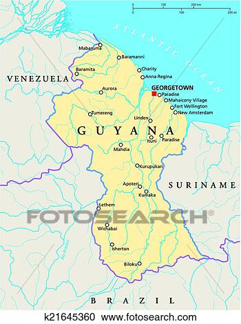 Clipart of Guyana Political Map k21645360 Search Clip Art