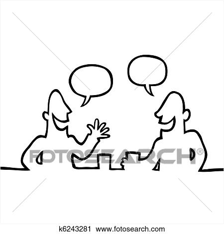 Clipart of Two people having a friendly conversation k6243281 ...