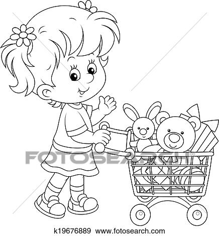 girls going shopping coloring pages | Clip Art of Girl with a shopping trolley of toy k19676889 ...