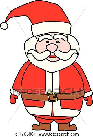 剪贴画 - 圣诞老人, 在怀特上