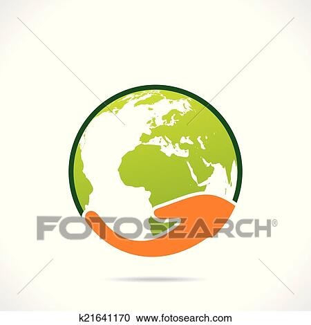 Clipart Of Save Earth Or Go Green Earth Symbol K21641170