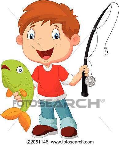 clip art of little boy fishing k22051146 search clipart rh fotosearch com boy and girl fishing clipart boy and girl fishing clipart