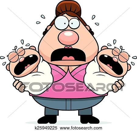clipart of scared cartoon mom with twins k25949225 search clip art rh fotosearch com scary clip art scared clipart face