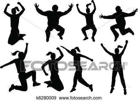 Clip Art of People jumping silhouettes k6280009 - Search Clipart ...