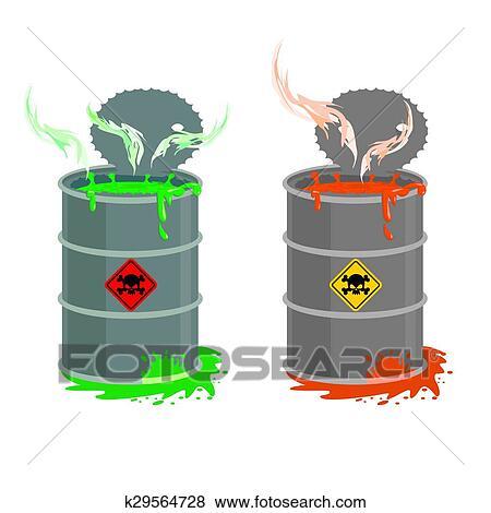 Clip Art of Barrel of toxic waste. Biohazard open ...