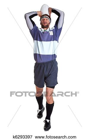 Beeld rugby speler uitsnijden op wit k6293397 zoek stock fotografie foto 39 s prints - Sterke witte werpen en de bal ...