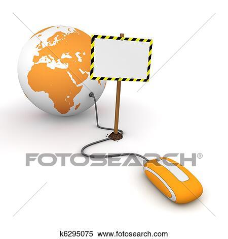 banque d 39 illustrations orange souris ordinateur est connect a orange globe. Black Bedroom Furniture Sets. Home Design Ideas