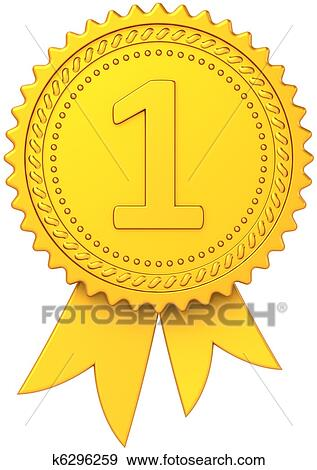 Stock Illustration of First place golden award ribbon k6296259 ...