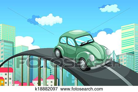 Clip Art Of A Car Travelling At The Road In City K18882097