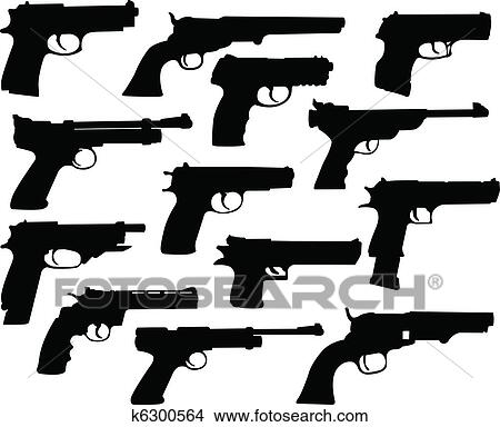 clipart of guns silhouettes k6300564 search clip art illustration rh fotosearch com clip art guns revolvers clipart sunset