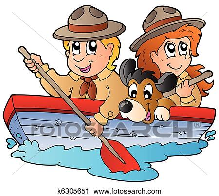 Clipart Of Wooden Boat With Scout Boy And Girl K6305651