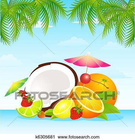Clipart stagionale vario frutta tropicale k6305681 for Clipart frutta