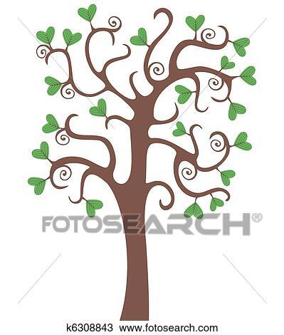 手绘图 - 树, 带, 心