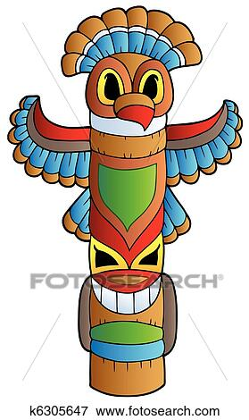 clip art of tall indian totem k6305647 search clipart rh fotosearch com native american totem pole clipart hawaiian totem pole clipart
