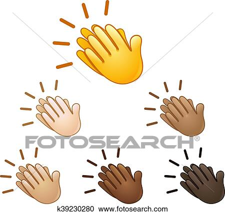 clipart of clapping hands sign emoji k39230280 search clip art rh fotosearch com clapping clipart black and white clipart clapping hands