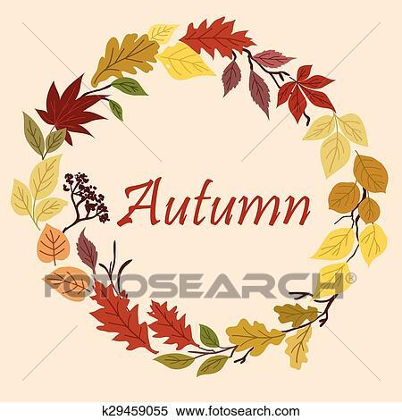 剪贴画 - 秋天, 黄色, 红, 桔子, 同时,, 绿色的树叶, 框架.图片