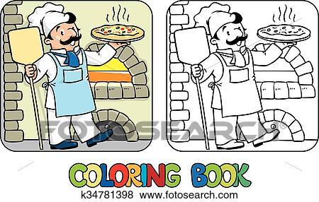Clip Art - ausmalbilder, von, lustig, koch, oder, küchenchef, mit ...   {Koch bei der arbeit clipart 59}
