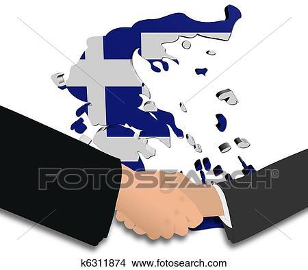 地囹kΈ�_绘画/图画 - 握手, 带, 希腊, 地图, 旗 k6311874
