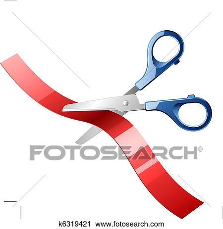 clipart of scissors cutting red ribbon k6319421 search clip art rh fotosearch com Ribbon Cutting Clip Art Border Ribbon Cutting Ceremony
