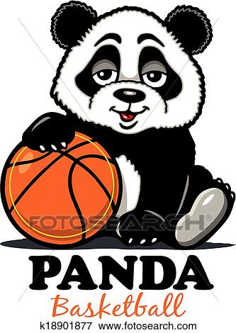 剪贴画 - 熊猫, 篮球