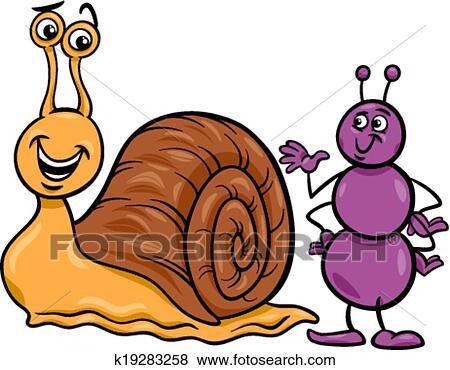 Clipart fourmi et escargot dessin anim illustration - Clipart escargot ...