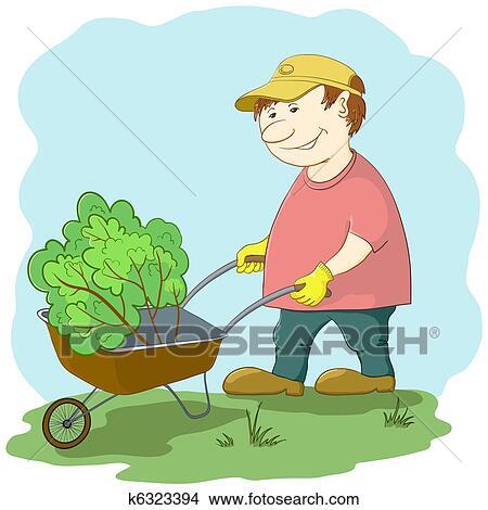 Dessins jardinier brouette k6323394 recherche de for Recherche jardinier