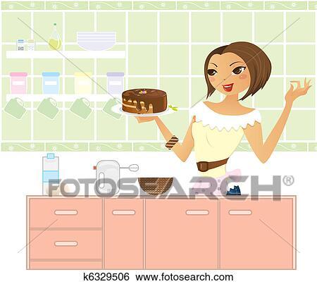Clipart femme dans cuisine confection a cake for Confection cuisine