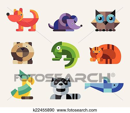 Clipart of Set of flat design geometric animals icons ...