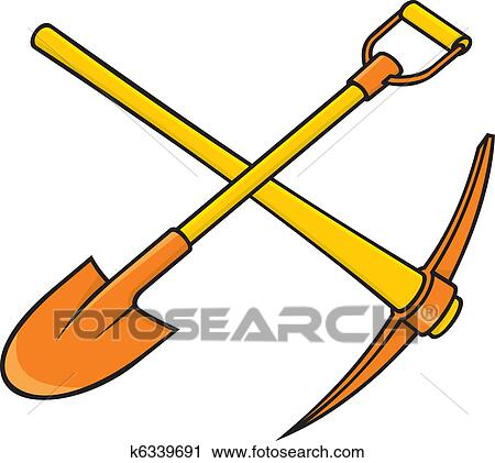 clipart of pickaxe and shovel k6339691 search clip art rh fotosearch com free clipart shovel shovel clipart black and white