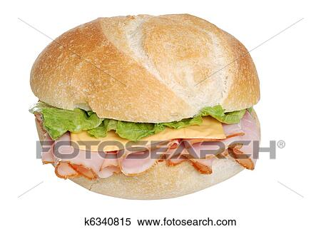 Stock Image of Ham and cheese sandwich on a bun k6340815 ...