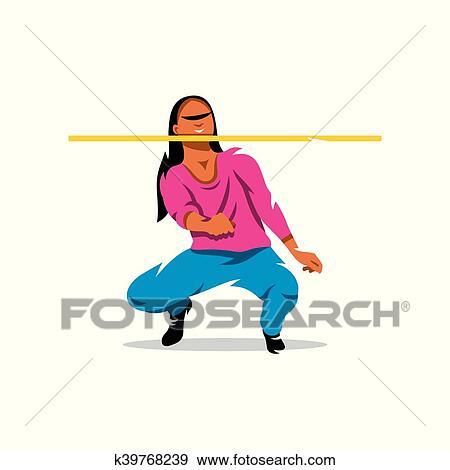 clip art of vector girl playing limbo cartoon illustration rh fotosearch com